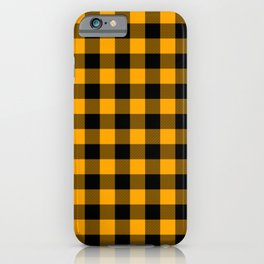 Crisp Orange and Black Lumberjack Buffalo Plaid Fabric iPhone Case