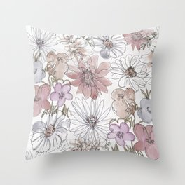 watercolor flowers and wine Throw Pillow