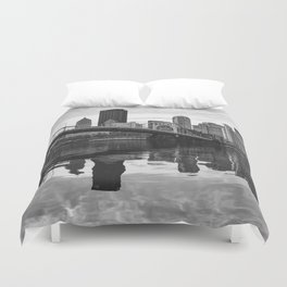 Black and White Wavy Reflections Duvet Cover