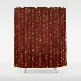 Golden Egyptian  hieroglyphics on red leather Shower Curtain