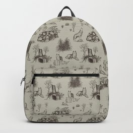 Eurasian Wolf Toile Pattern (Beige and Brown) Backpack