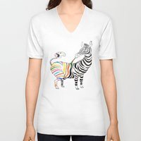 zebra V-neck T-shirts featuring Zebra by gunberk