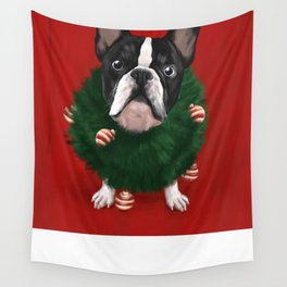 Christmas Bulldog Wall Tapestry