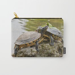 two cute turtles rest at sun on pond Carry-All Pouch