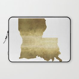 louisiana gold foil state map Laptop Sleeve