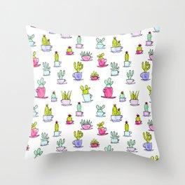 Cactime for Tea Throw Pillow