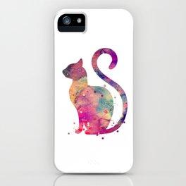 Cat Art Colorful Purple Watercolor Gift Pet Art Animal Lovers Art iPhone Case