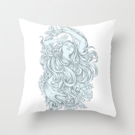 Beautiful Girl with TURQUOISE ROSE Throw Pillow