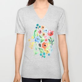 Flourish - Watercolor Floral Unisex V-Neck