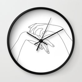 Hands line drawing illustration - Clea Wall Clock
