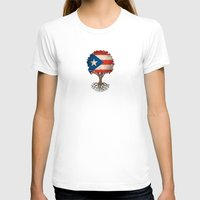 puerto rico T-shirts featuring Vintage Tree of Life with Flag of Puerto Rico by Jeff Bartels