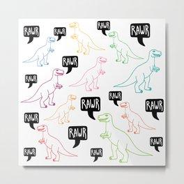 RAWR colorful dinosaurs Metal Print