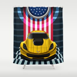 The Yellow King Corvette C7 Shower Curtain