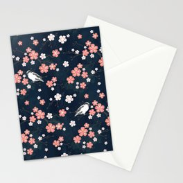 Navy blue cherry blossom finch Stationery Cards