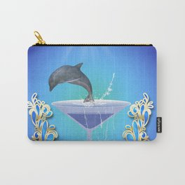 Dolphin jumping out of a glass Carry-All Pouch