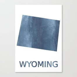 Wyoming map outline Dark blue clouded watercolor Canvas Print