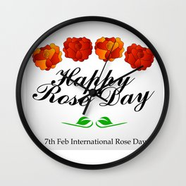 Happy Rose day february 7th- valentine month Wall Clock