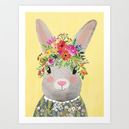 Rabbit with floral crown Art Print