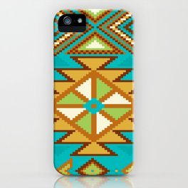 Native Aztec Tribal Turquoise Rug Pattern iPhone Case