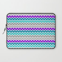 Teal Turquoise Blue Purple Grey Gray Chevron  Laptop Sleeve
