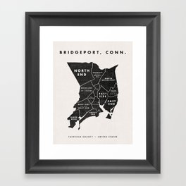 Bridgeport Map Framed Art Print