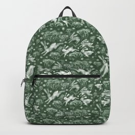 Hares Field, Jumping White Rabbits Winter Holidays Pattern,  Backpack