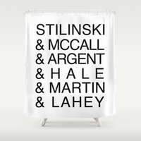 teen wolf Shower Curtains featuring Teen Wolf Last Names by Dan Lebrun
