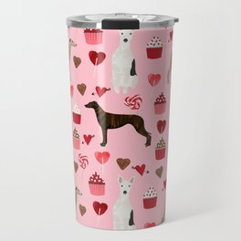 Whippet valentines day cupcakes love hearts dog breed pet portrait whippets pure breed dog gifts Travel Mug