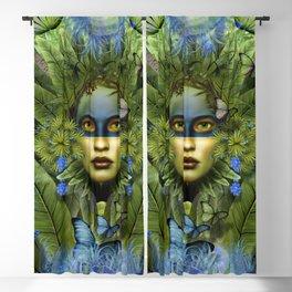 """Tropical green and indigo jungle Woman"" Blackout Curtain"