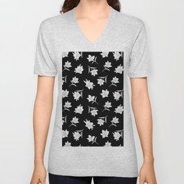 Black & White Botanical Floral Pattern Unisex V-Neck