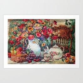 Vintage Tea Party Bouquet Art Print