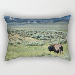 A Bull Bison Heads Towards Thermal Activity in the Hayden Valley of Yellowstone National Park Rectangular Pillow