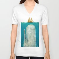 wall clock V-neck T-shirts featuring The Whale  by Terry Fan