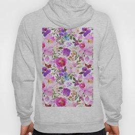 Elegant blush pink violet lavender watercolor summer floral Hoody