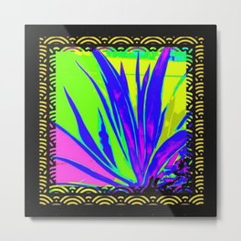 Colorful  Blue Tropical Foliage Black-Gold Color Abstract Metal Print