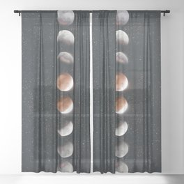 Phases of the Moon II Sheer Curtain