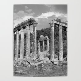 Euromos Ruins Black and White Photography Poster
