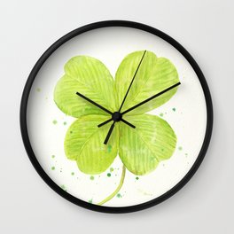 Watercolor 4 leaf Clover Wall Clock