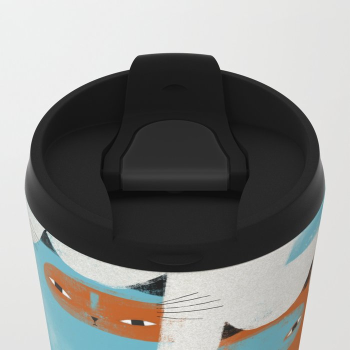TWO CATS WAITNG Metal Travel Mug
