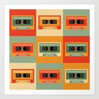 cassette Art Prints featuring cassette by vitamin