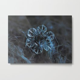 Real snowflake macro photo - The core Metal Print