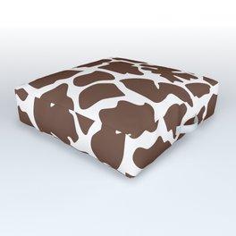 Animal Print (Giraffe Pattern) - Brown White Outdoor Floor Cushion