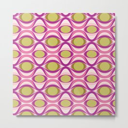 Pink, Purple and Green Geometric Retro Wavy Pattern Metal Print