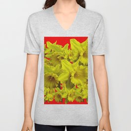 YELLOW SPRING DAFFODILS ON CHINESE RED ART Unisex V-Neck