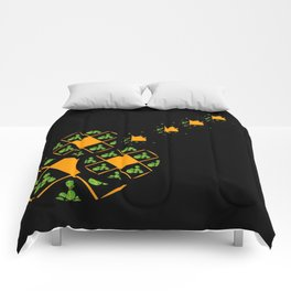 Orange and Green Spaces 110 Comforters