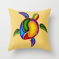turtle Throw Pillows featuring Turtle by Aleksandra Mikolajczak