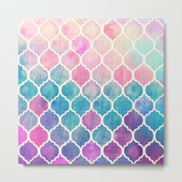 Rainbow Pastel Watercolor Moroccan Pattern Metal Print