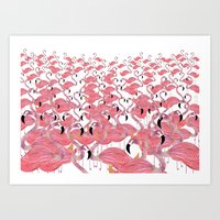 flamingos Art Prints featuring Flamingos by Lydia Coventry
