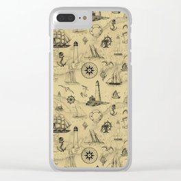 Old Map Background with Vintage Nautical Pattern Clear iPhone Case
