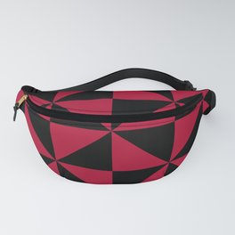 Geometric pin wheel pattern in red and black Fanny Pack